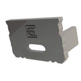 Profile Gray End Cap with cable hole, 16x9.8mm